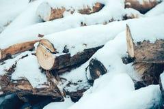 堆在雪下的木日志 图库摄影
