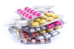 堆在水泡的药片 库存照片