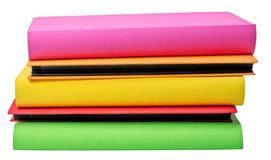 堆在wite backround的彩色照片册页 免版税库存图片