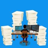 堆堆纸,商业环境,传染媒介例证 库存照片