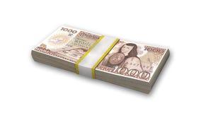 堆墨西哥货币, 1000张比索票据,在白色的金钱 免版税库存照片