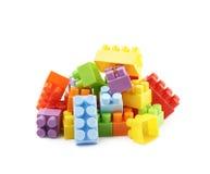 堆多块玩具砖 免版税库存照片