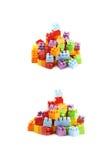 堆多块玩具砖 免版税库存图片