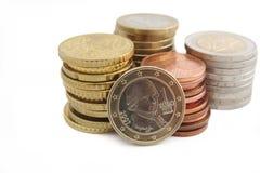 堆奥地利欧洲硬币 免版税库存照片