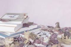 堆学校课本,在桌上的书与秋叶,反对与拷贝空间概念的浅紫色的背景 免版税图库摄影