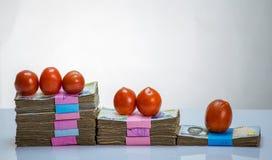 堆尼日利亚奈拉笔记和蕃茄-在食物商品的增量 免版税库存照片