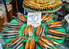 堆干海鲜在市场上在菲律宾 免版税图库摄影