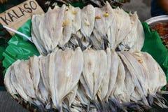 堆干海鲜在市场上在菲律宾 图库摄影