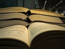 堆开放书和两页开放书在前面在图书馆里 免版税库存图片