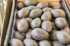 堆成熟有机鲕梨在地方市场上在美国 库存图片