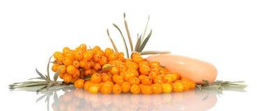 堆成熟海鼠李莓果、叶子和肥皂隔绝了o 免版税库存照片