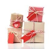 堆手工造礼物盒 库存图片