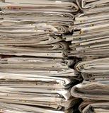 堆报纸在收集废纸的EcoCentre 库存图片