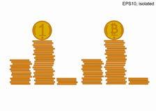 堆指挥台硬币 在塔的许多金币 Bitcoin 向量例证