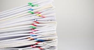 堆收据的超载文件在白色背景时间间隔的 影视素材