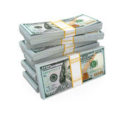 堆新的100张美元钞票 图库摄影
