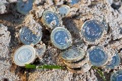 堆新的1英镑硬币 库存图片