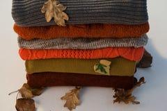 堆有秋叶的羊毛衣物 库存图片