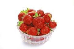 堆查出的草莓白色 库存照片