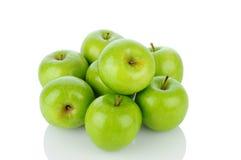 堆格兰尼史密斯苹果苹果 免版税库存照片