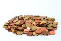 堆欧洲硬币 免版税库存图片