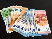 堆欧洲钞票 免版税库存照片