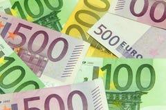 堆欧洲票据 免版税库存照片