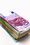 堆欧洲金钱 库存图片