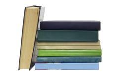 堆没有标签的不同的旧书 免版税图库摄影