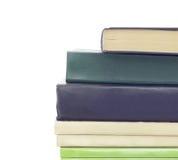堆没有标签的不同的旧书 免版税库存照片
