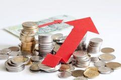 堆波兰金钱增量财务摘要标志 免版税库存照片