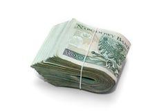 堆波兰钞票 库存图片