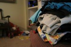 堆洗衣店在堆折叠了 免版税库存照片