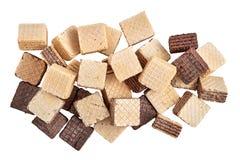 堆混合分类了方形的薄酥饼饼干 免版税图库摄影
