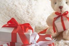 堆特写镜头礼物盒 库存图片