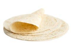 堆玉米粉薄烙饼套和一个被折叠的套 图库摄影