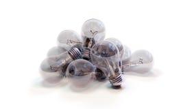 堆白炽电灯泡 免版税库存照片