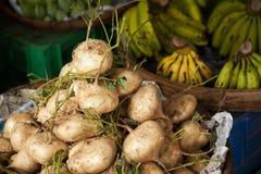 堆白色未加工的白萝卜和香蕉在农夫市场上 库存图片