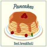堆的传染媒介例证薄煎饼 烘烤用樱桃糖浆和樱桃在板材 早餐咖啡概念煎的杯子鸡蛋 向量例证