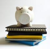 堆的存钱罐书 免版税库存图片