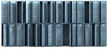 学校衣物柜彻底了搜索前面 免版税库存照片
