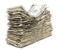 被隔绝的起皱纹的100张US$票据堆 库存图片