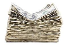 被隔绝的起皱纹的100张US$票据堆 免版税库存图片