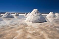 堆盐在撒拉族de Uyuni 免版税库存照片