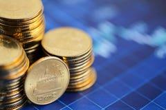 堆硬币有财务图表背景 免版税库存照片