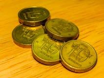 堆硬币瑞典人冠 免版税图库摄影