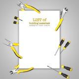 (堆积器和螺丝刀)形成在图片边界的黄色黑得心应手的工具框架  免版税库存图片