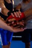 堆积手的拳击手特写镜头  免版税图库摄影