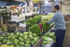 堆积新鲜农产品的供营商在阿曼约旦 免版税图库摄影