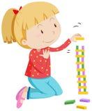 堆积木块的小女孩 库存例证
